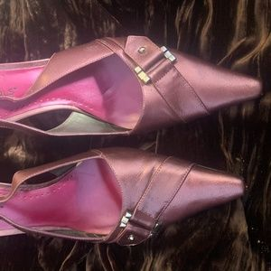 BCBGirls metallic pink heels 6.5M like new